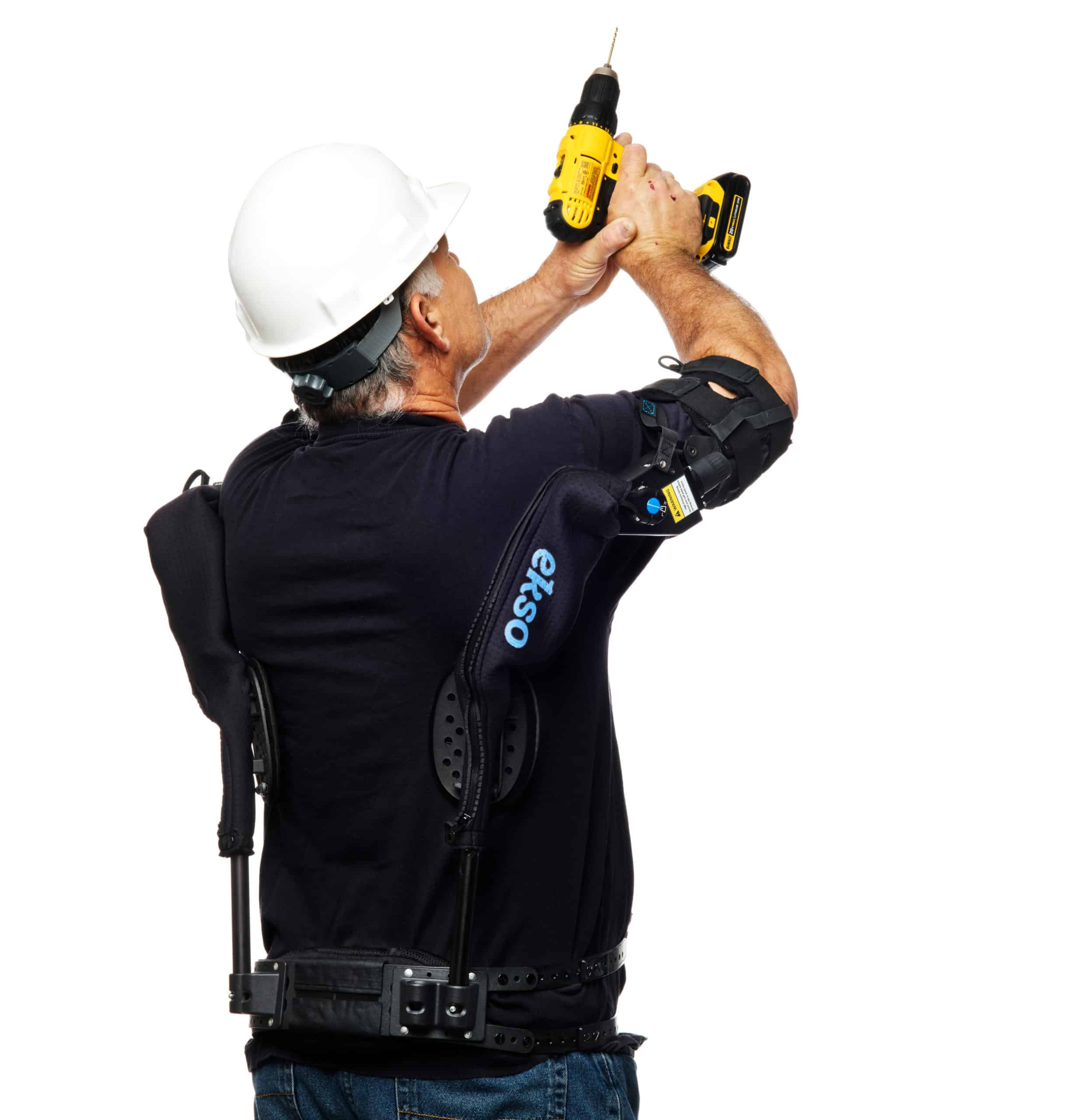 Man using Ekso EVO with an automatic screwdriver.